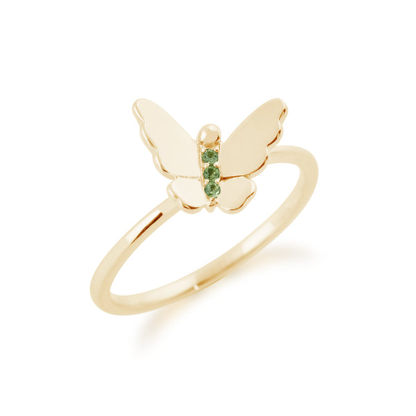Gemondo 9ct Yellow Gold 0.02ct Peridot Stackable Butterfly Ring Image 2