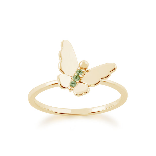 Floral Peridot & Diamond Butterfly & Flowers Three Stack Ring Set Image 4