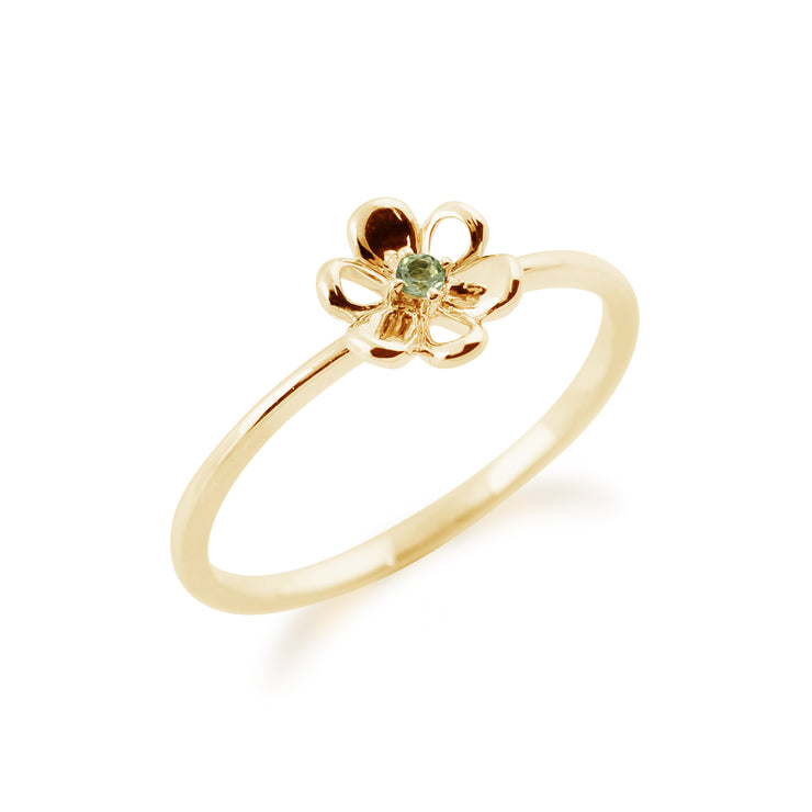 Gemondo 9ct Yellow Gold 0.02ct Peridot Stackable Floral Ring Image 2
