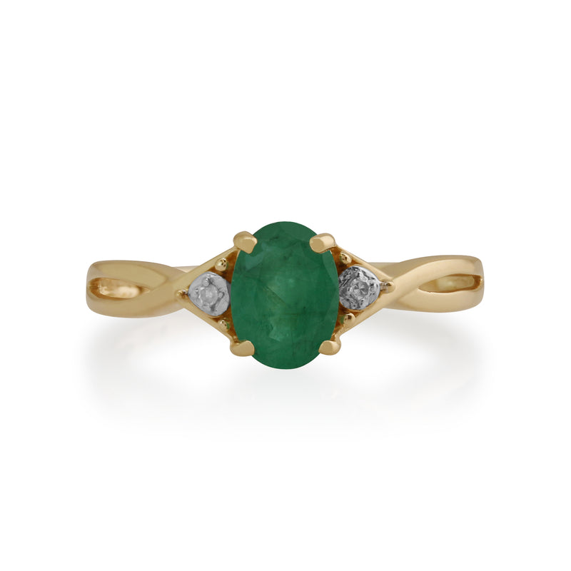 Gemondo 9ct Yellow Gold 0.83ct Emerald & Diamond Ring Image 2