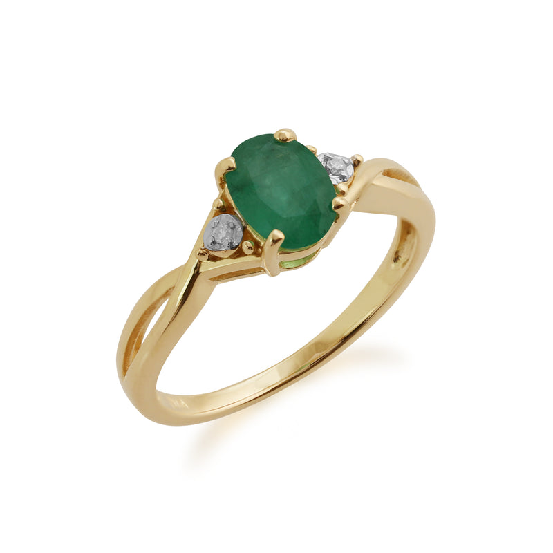 Gemondo 9ct Yellow Gold 0.83ct Emerald & Diamond Ring Image 1