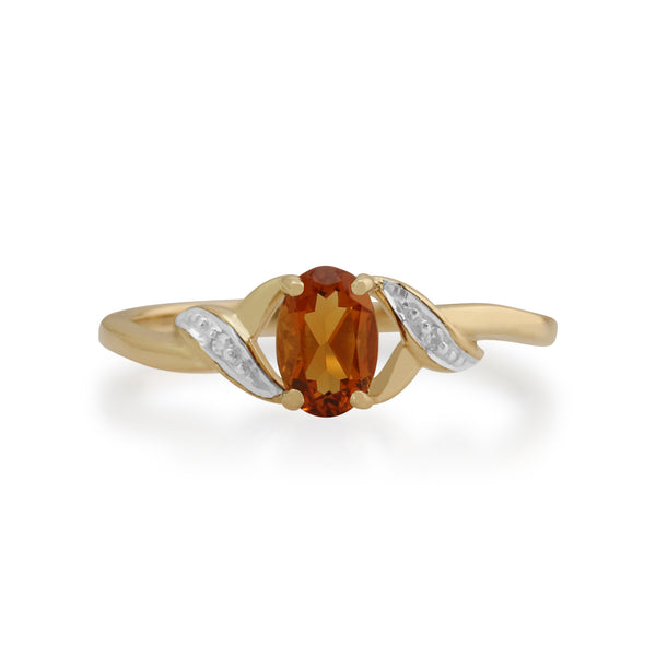 Gemondo 9ct Yellow Gold 0.40ct Citrine & Diamond Ring Image 2