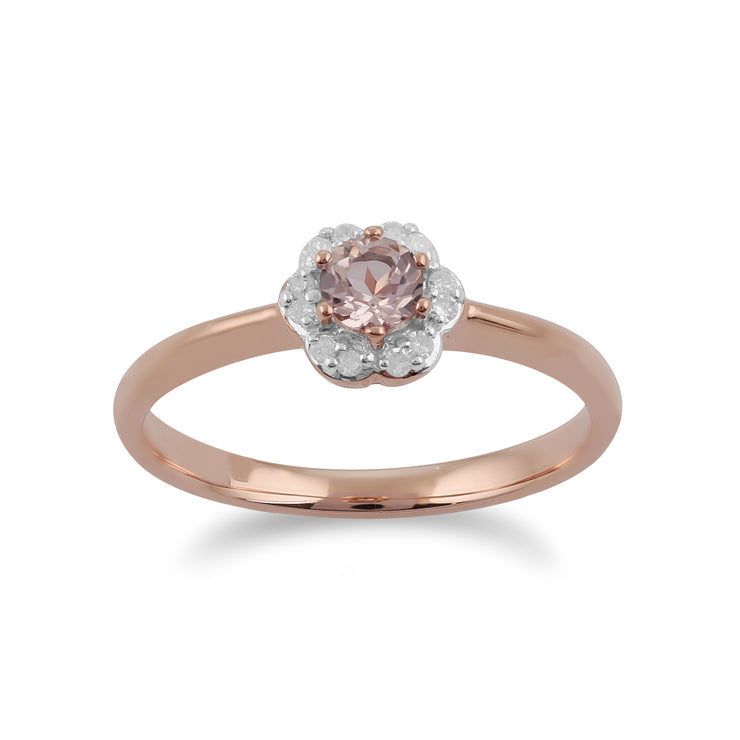 Classic Round Morganite & Diamond Floral Ring in 9ct Rose Gold