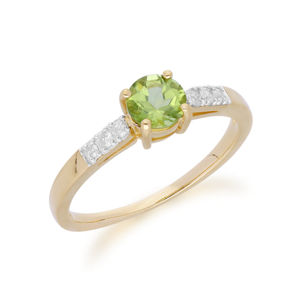 Gemondo 9ct Yellow Gold Peridot & Diamond Round Cut Ring Image 2