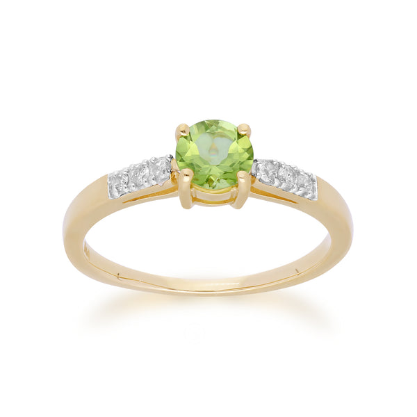 Gemondo 9ct Yellow Gold Peridot & Diamond Round Cut Ring Image 1