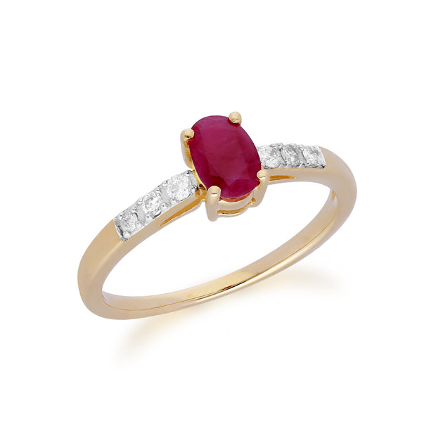 Gemondo 9ct Yellow Gold Ruby & Diamond Oval Cut Solitaire Ring Image 2