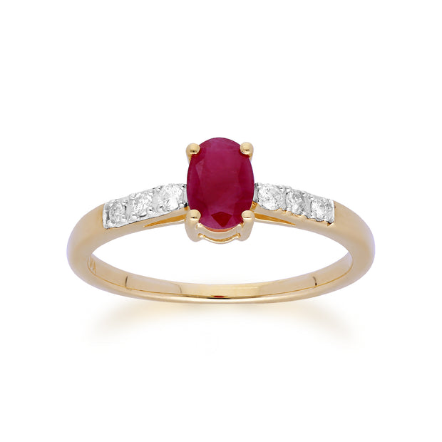 Gemondo 9ct Yellow Gold Ruby & Diamond Oval Cut Solitaire Ring Image 1