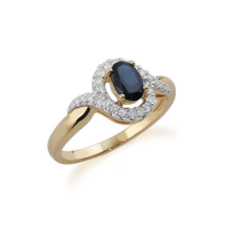 Classic Oval Sapphire & Diamond Ring in 9ct Yellow Gold Side