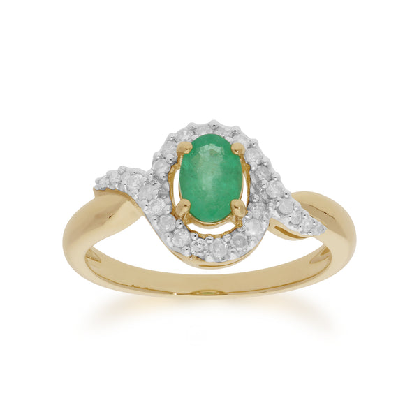 Classic Oval Emerald & Diamond Ring in 9ct Yellow Gold