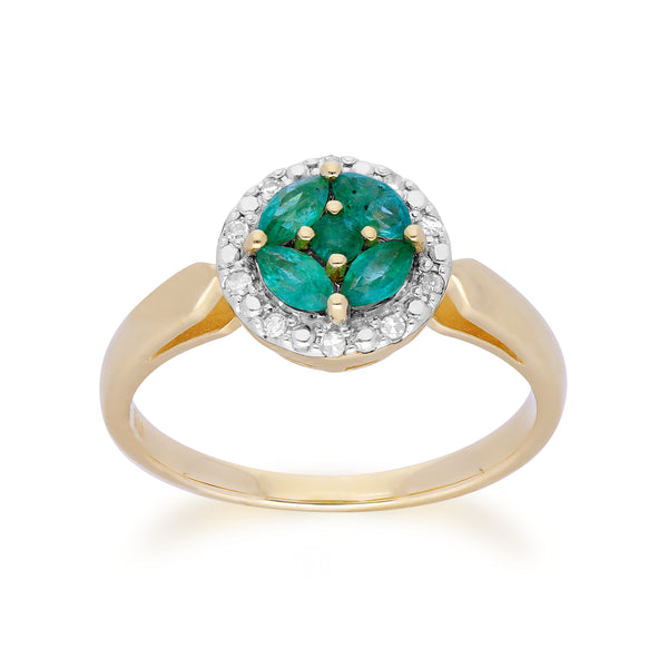 Gemondo 9ct Yellow Gold Emerald Cluster and Diamond Halo Ring Image 1