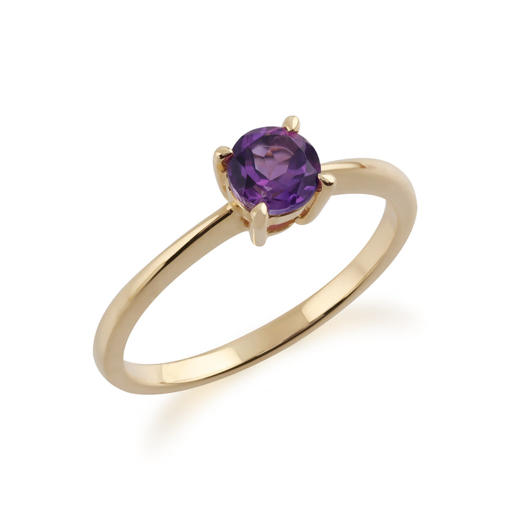 Gemondo 9ct Yellow Gold Amethyst Round Cut Single Stone Ring Image 2