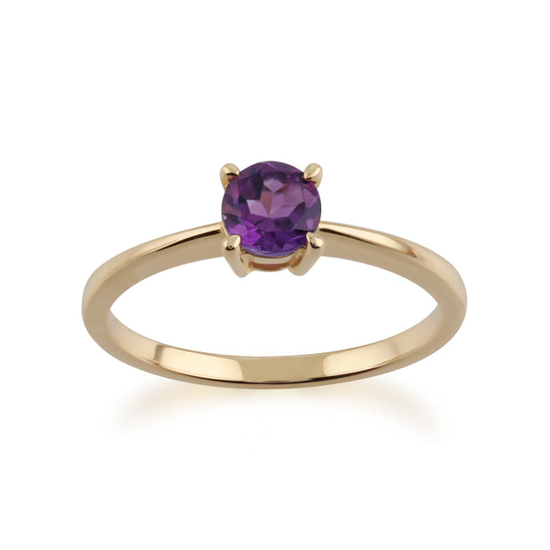 Gemondo 9ct Yellow Gold Amethyst Round Cut Single Stone Ring Image 1