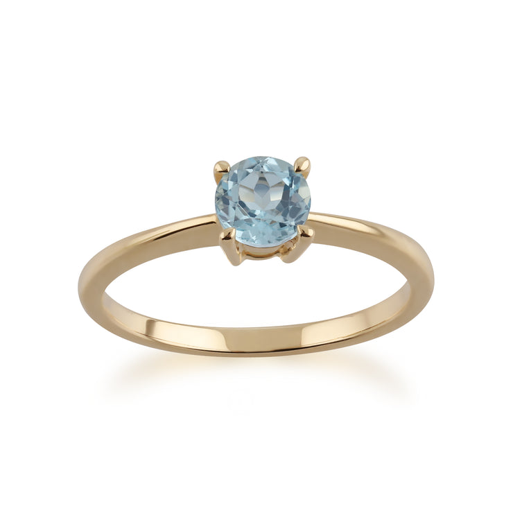 10ct Yellow Gold Blue Topaz Round Cut Single Stone Ring