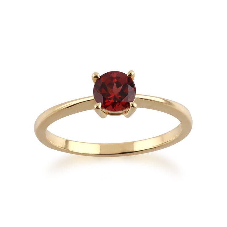 Gemondo 9ct Yellow Gold Mozambique Garnet Round Cut Single Stone Ring Image 1