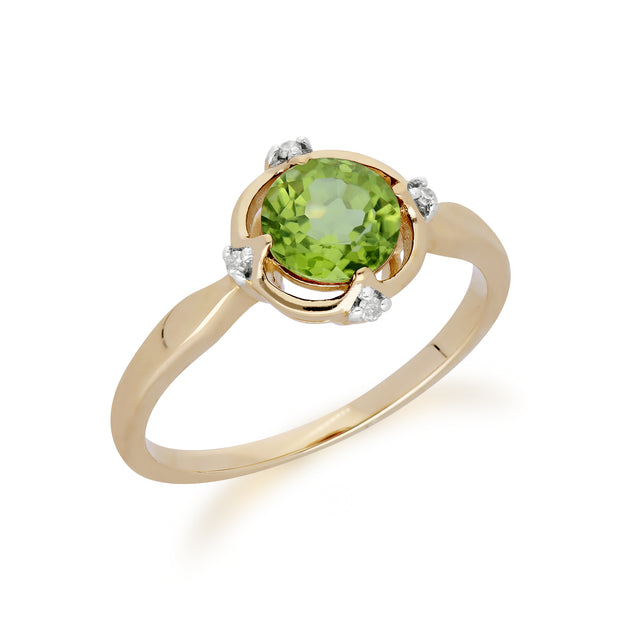 Gemondo 9ct Yellow Gold Halo Peridot & Diamond Round Cut Ring Image 2