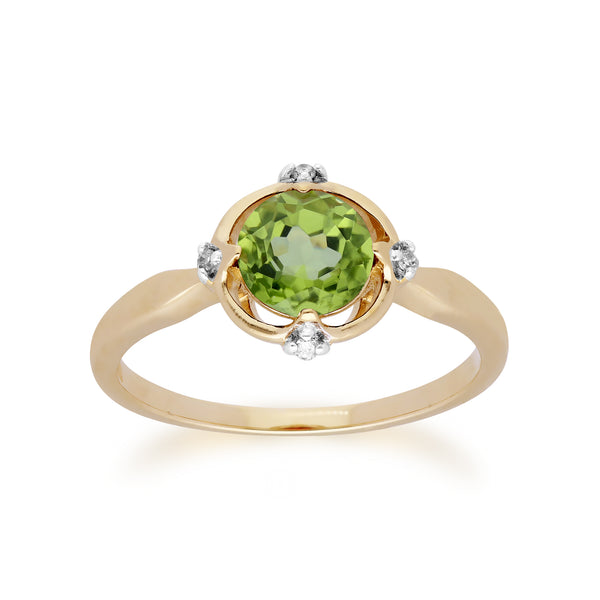 Gemondo 9ct Yellow Gold Halo Peridot & Diamond Round Cut Ring Image 1