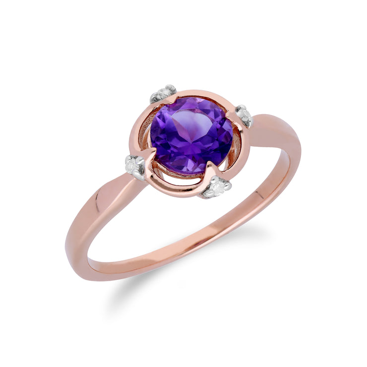 Gemondo 9ct Rose Gold Halo Amethyst & Diamond Round Cut Ring Image 2