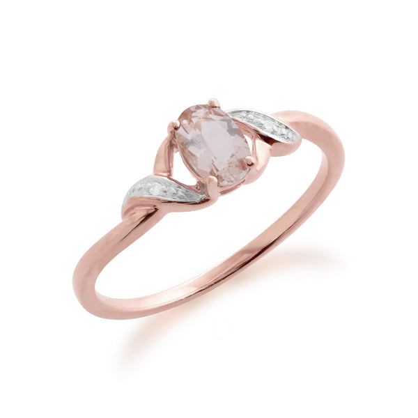 Classic Oval Morganite & Diamond Ring in 9ct Rose Gold