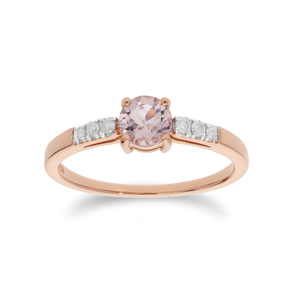 Classic Round Morganite & Diamond Shoulder Ring in 9ct Rose Gold