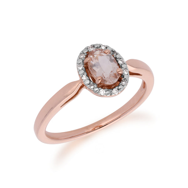 Classic Morganite & Diamond Halo Ring in 9ct Rose Gold