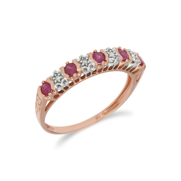 Classic Ruby & Diamond Half Eternity Ring in 9ct Rose Gold