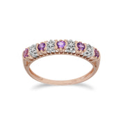 Classic Amethyst & Diamond Half Eternity Ring in 9ct Rose Gold