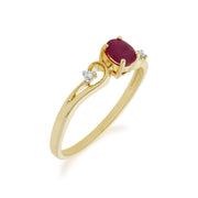 Classic Oval Ruby & Diamond Ring in 9ct Yellow Gold