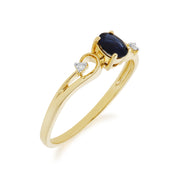 Classic Oval Sapphire & Diamond Ring in 9ct Yellow Gold