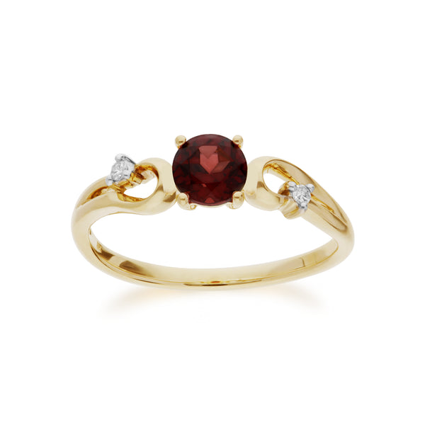 Classic  Round Garnet & Diamond Ring in 9ct Yellow Gold