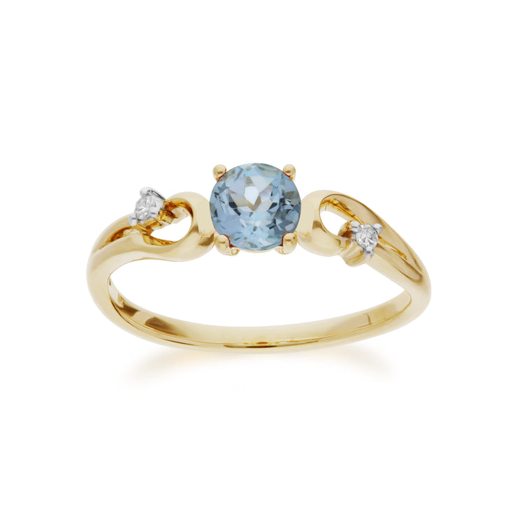 Classic Round Blue Topaz & Diamond Ring in 9ct Yellow Gold