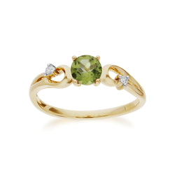 Classic Round Peridot & Diamond Ring in 9ct Yellow Gold