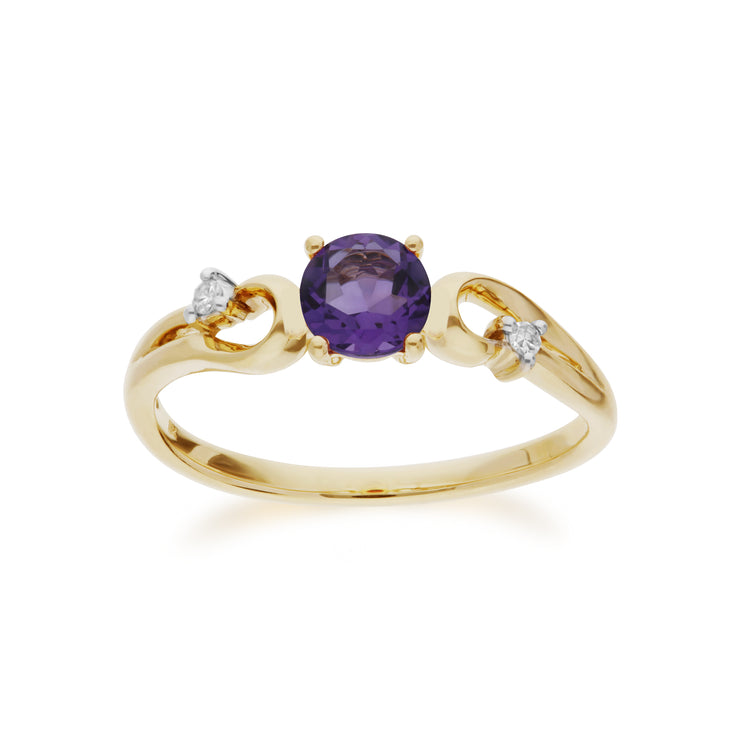 Classic Round Amethyst & Diamond Ring in 9ct Yellow Gold