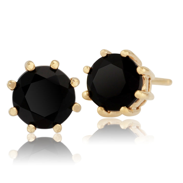 Classic Round Black Onyx Stud Earrings in 9ct Yellow Gold 5mm