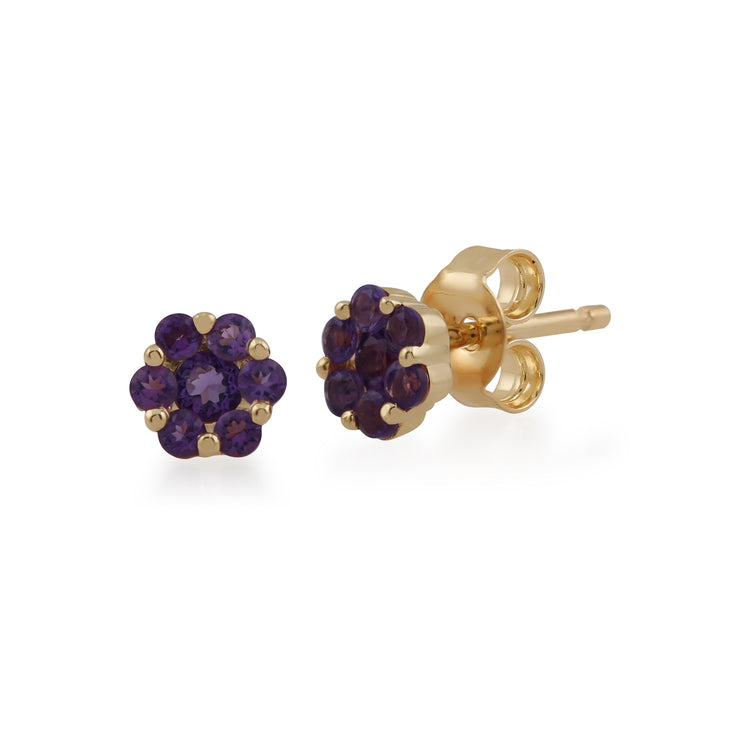 Floral Round Amethyst Cluster Stud Earrings in 9ct Yellow Gold