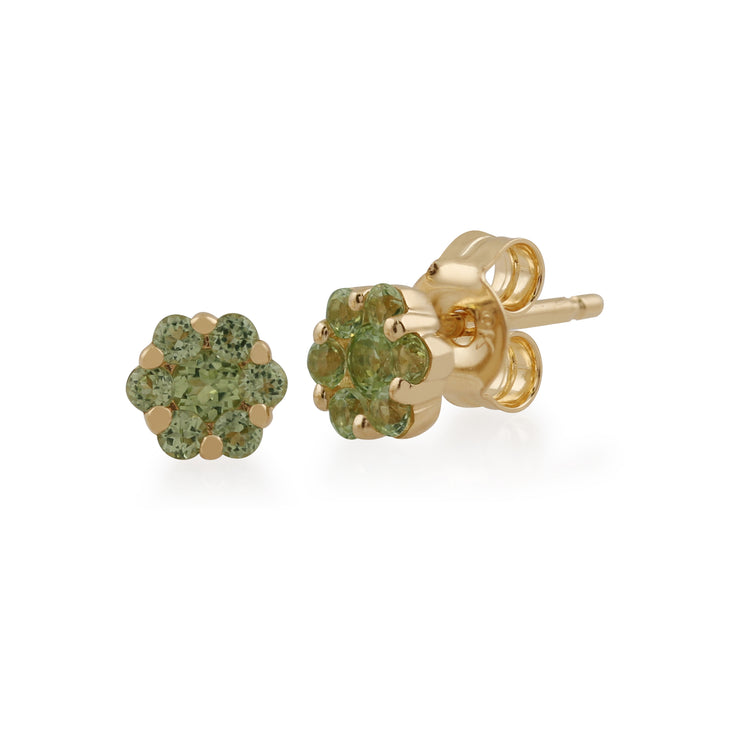 Floral Round Peridot Cluster Stud Earrings in 9ct Yellow Gold