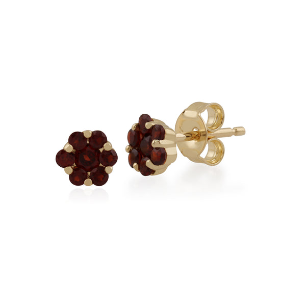 Floral Round Garnet Cluster Stud Earrings in 9ct Yellow Gold
