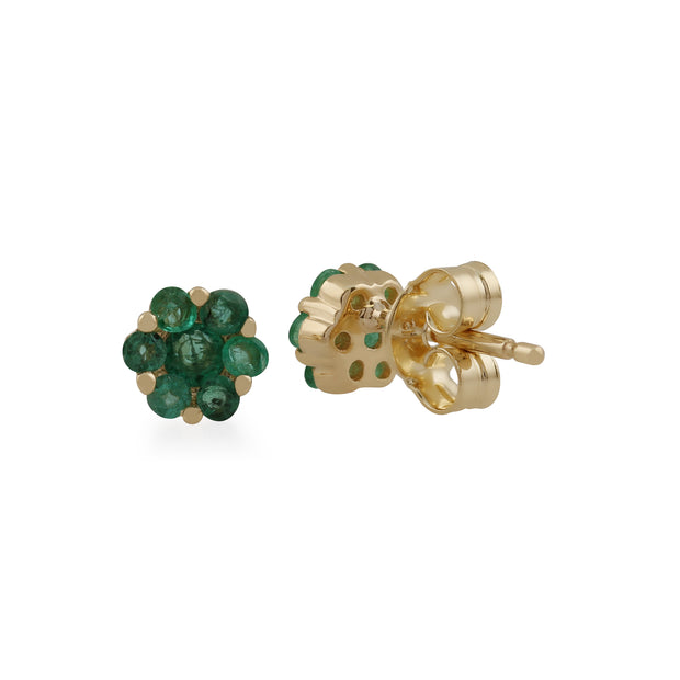 Floral Round Emerald Cluster Stud Earrings in 9ct Yellow Gold