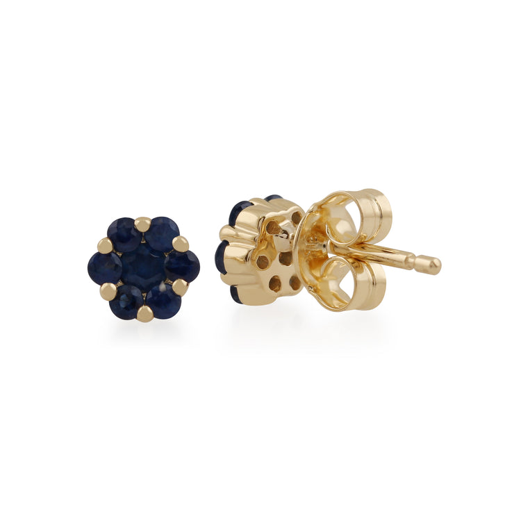 Floral Round Sapphire Cluster Stud Earrings in 9ct Yellow Gold Back