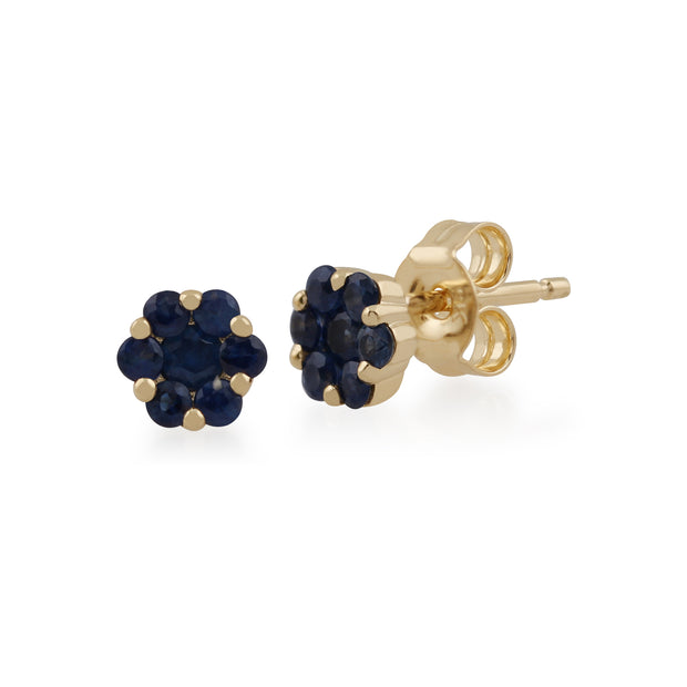 Floral Round Sapphire Cluster Stud Earrings in 9ct Yellow Gold