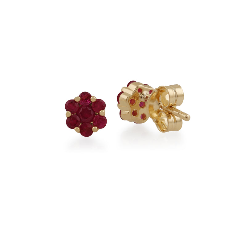 Floral Round Ruby Cluster Stud Earrings in 9ct Yellow Gold