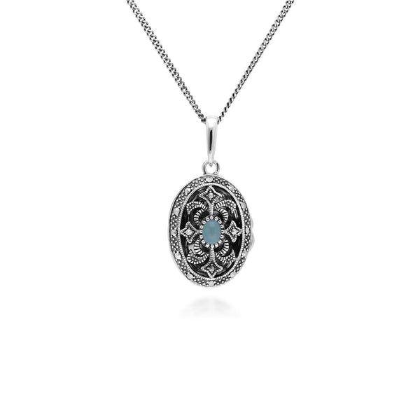 Art Nouveau Style Oval Dyed Green Jade & Marcasite Locket Necklace in 925 Sterling Silver