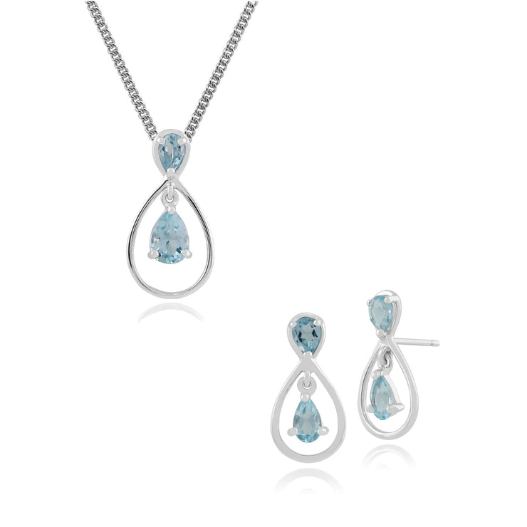 Classic Pear Blue Topaz Halo Drop Earrings & Pendant Set in 9ct White Gold