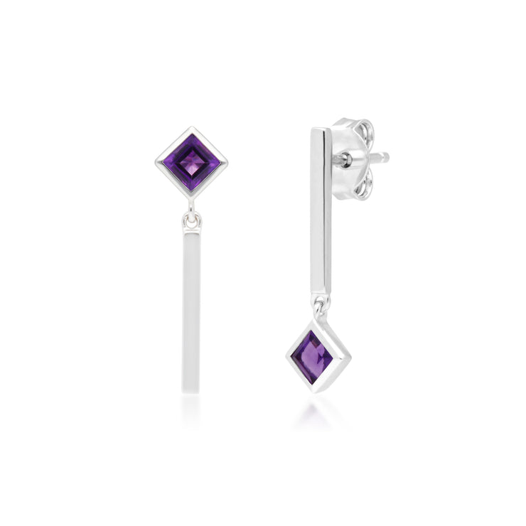 Micro Statement Mismatched Amethyst Drop Earrings in 9ct White Gold