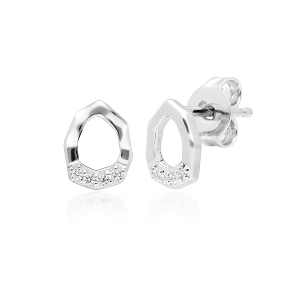 Diamond Pave Asymmetric Stud Earrings in 9ct White Gold