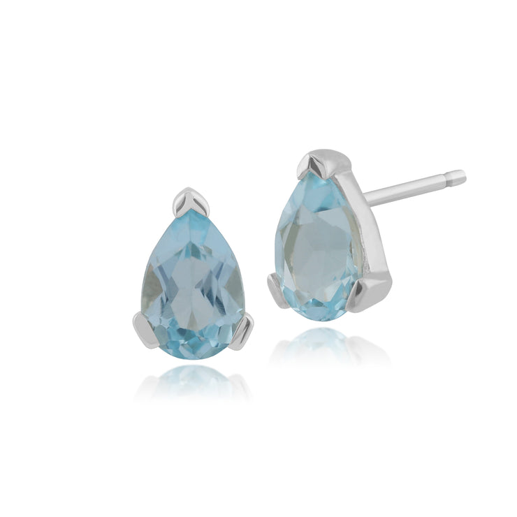 Classic Pear Blue Topaz Stud Earrings in 9ct White Gold 6.5x4mm