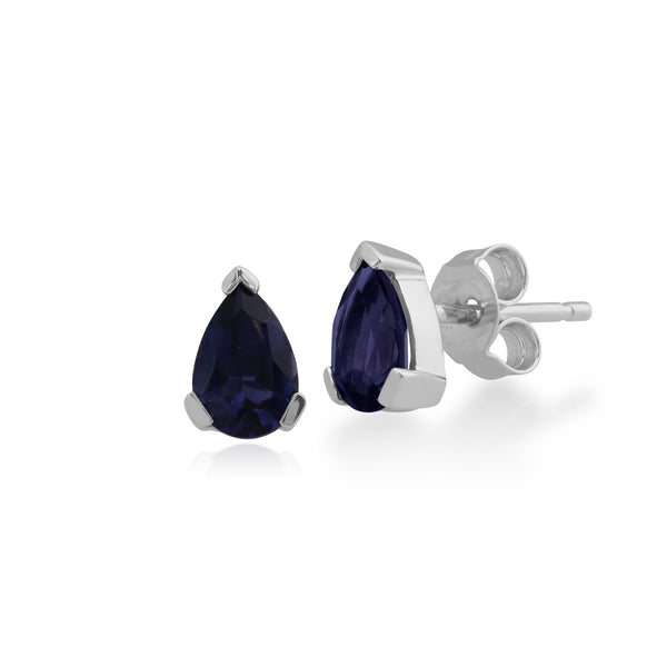 Classic Pear Iolite Claw Set Stud Earrings in 9ct White Gold