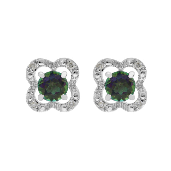 Classic Mystic Topaz Studs & Diamond Flower Ear Jacket Image 1