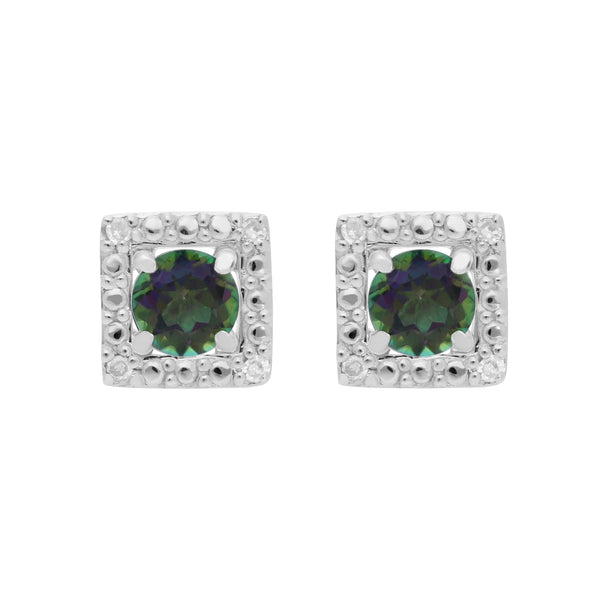 Classic Mystic Green Topaz Studs & Diamond Square Ear Jacket Image 1