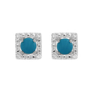 Classic Turquoise Stud Earrings & Diamond Square Ear Jacket Image 1