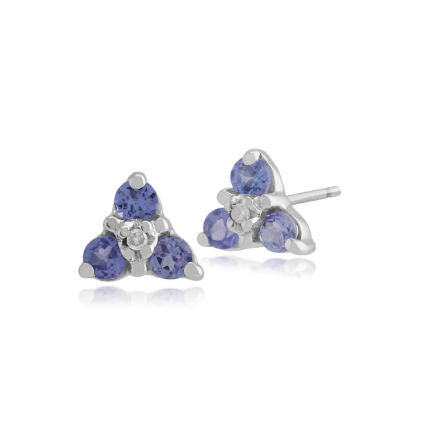 Floral Round Tanzanite & Diamond Stud Earrings in 9ct White Gold